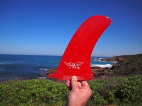 """Red Longboard Fins Single Surf New 9/"""" Keel Fin Pilot Fins"""