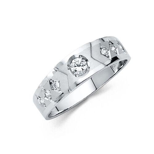 14k Solid White Gold 6 mm Round Cut Diamond Men/'s Wedding Band Ring