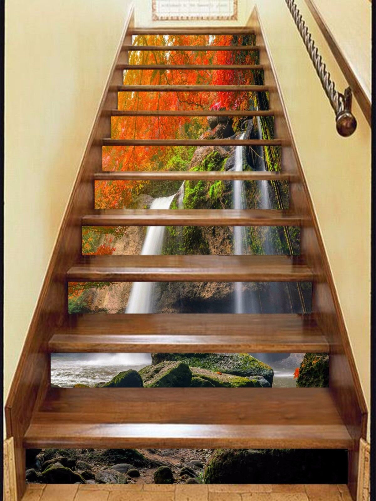 3D Mountain falls 7 Stair Risers Decoration Photo Mural Vinyl Decal Wallpaper UK