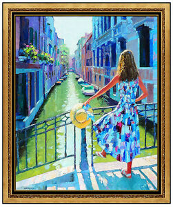 Howard-Behrens-Original-Oil-Painting-On-Canvas-Large-Italian-Landscape-Signed