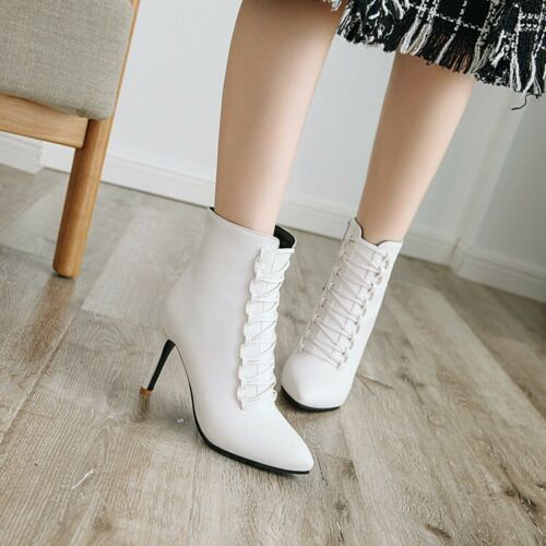 Fashion Women/'s Pointy Toe Stilettos High Heels Lace up Ankle Boots Shoes Size