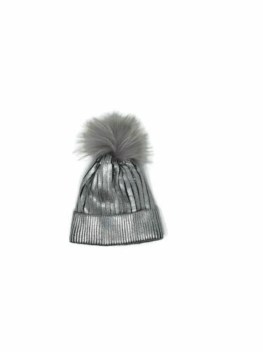 Bari Lynn Silver Metallic Rib Knit /& Fox Fur  Winter Hat  Girls Kids