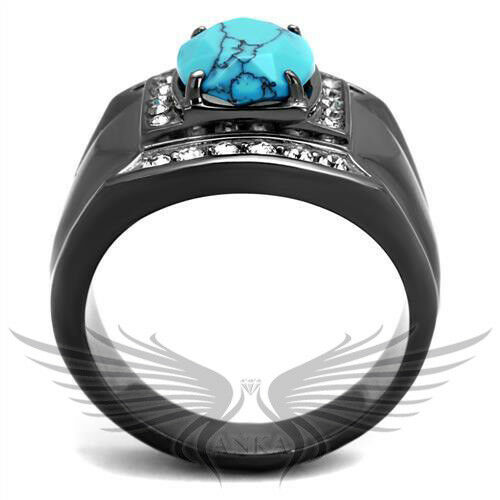 Men/'s Black Ion Plated Ring With Blue Semi-Precious Topaz 8 9 10 11 12 13 TK2662