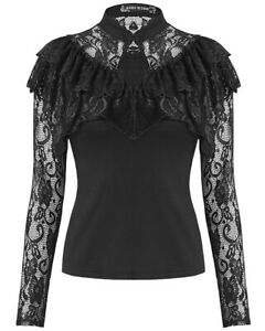 Dark-In-Love-Womens-Gothic-Blouse-Top-Black-Lace-Sleeve-Cape-Steampunk-Victorian