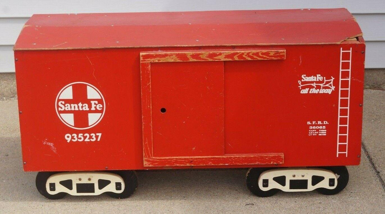1950s Santa Fe Furgón Tren Ferrocarril Modelo Caja De Juguetes De Almacenamiento Pecho Lionel de posguerra