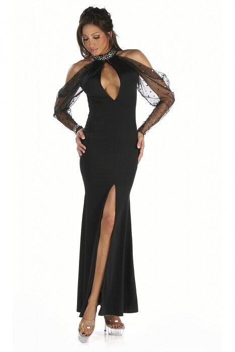 Sexy Abendkleid Gr.32-34 Mesh Strass schwarz Kleid Party Gala edel Made USA