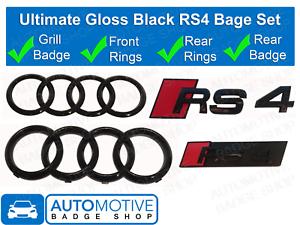 AUDI-RS4-Anillos-Brillo-Negro-Rejilla-amp-Bota-Insignia-Emblema-Set-Conjunto-Completo-De-Black-Out