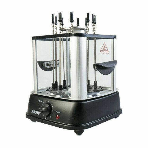 NEW Aroma Housewares ABT-106 Auto Rotating Kebab Maker 10 Skewers Black TAXFREE