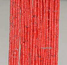"""2MM  TURQUOISE GEMSTONE RED ROUND TUBE HEISHI 2MM LOOSE BEADS 12.5"""""""