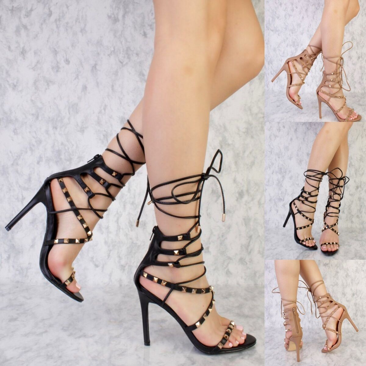 Studded Lace Up Stiletto High Heel Open Toe mid Calf Gladiator Sandals Size G15