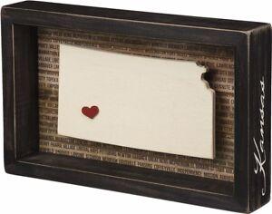 Kansas State Shape Box Sign Primitives By Kathy Home Decor