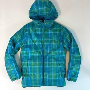 Marmot-Reversible-Puffer-Coat-Girls-SZ-Large-Plaid-Hooded-Full-Zip-Fast-Shipping