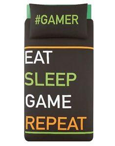 # Gamer Eat, Sleep, Jeu, Répétez! Parure De Lit-simple Ados-afficher Le Titre D'origine MatéRiau SéLectionné