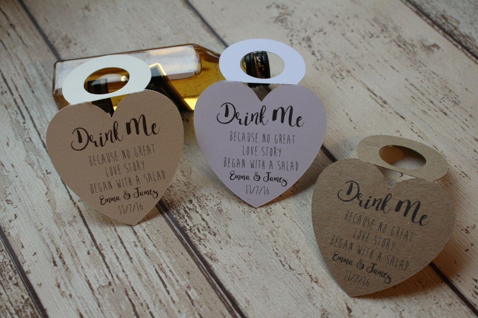 Personalised Wedding Favour bottle tags for miniature bottles Drink me because H