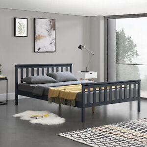B-WARE-Holzbett-140x200cm-Bettgestell-Bett-Doppelbett-Kiefer-Jugendbett-Grau