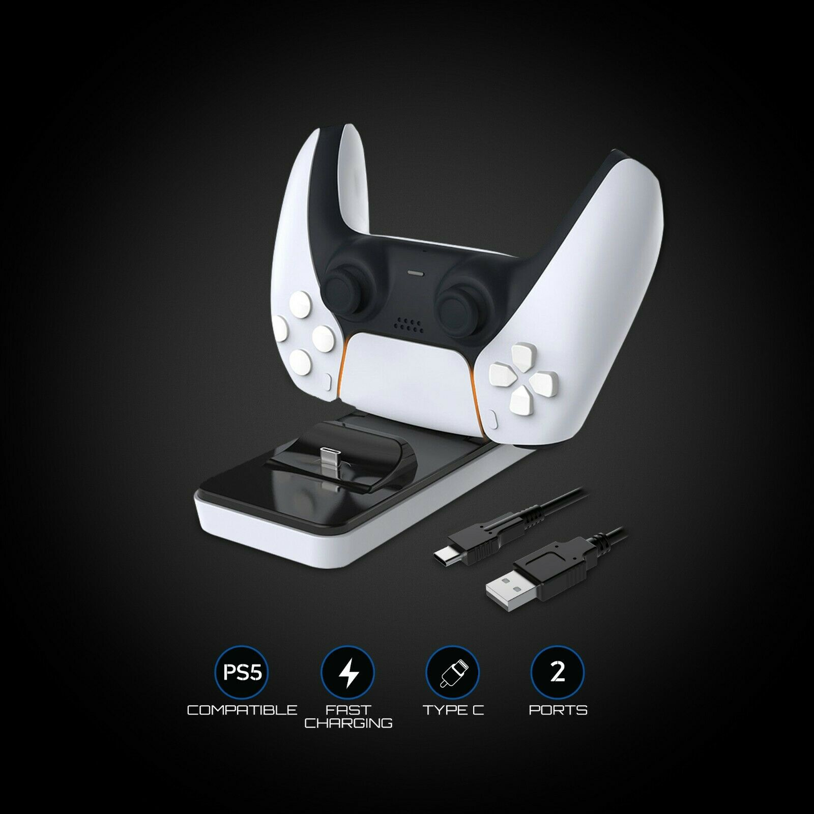 White Shark CLINCH PS5 DualSense Controller Charger