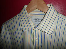 "CHARLES TYRWHITT Jermyn St Mens Striped Cotton Shirt Size Double Cuff LARGE 16"""