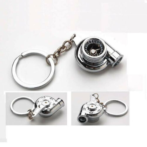 Universal Chrome Turbo Turbocharger Boost Spinning Key Chain Ring FOB