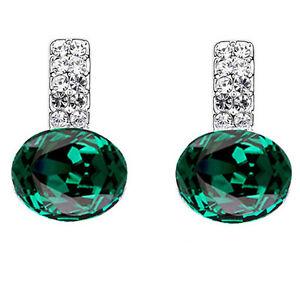 Bello-Argento-Lucido-Cristallo-Verde-Smeraldo-Pendente-Orecchini-a-Lobo-E950