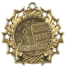 Mathematics Math Medals Award Trophy W/Free Lanyard FREE SHIPPING TS507