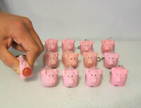 12 Naughty Pooping Pig Keychains Squeeze Animals Poop Turd Key Ring Chain