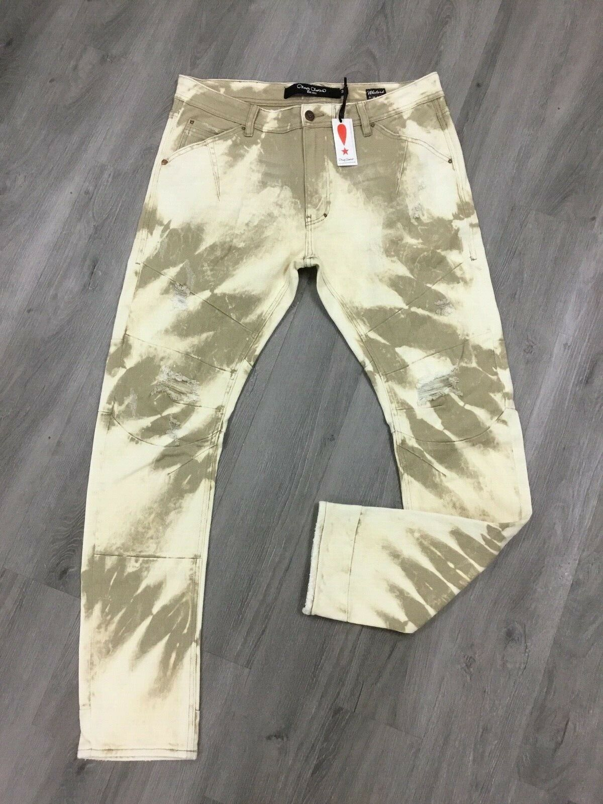 PLAY CLOTHS MENS TAN MOUNTAIN DOG WARLORD DISTRESSED JEANS SIZE 40 NEW RETAIL118