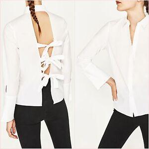 Zara-White-Shirt-Open-Back-Bows-Top-Size-S-L-UK-8-12-US-4-8-Blogger