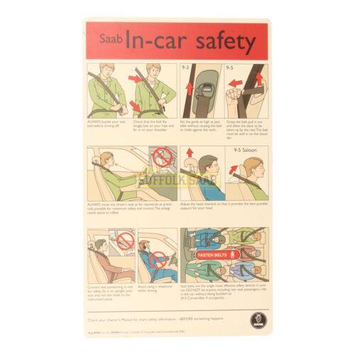 SAAB 93 9-3 95 9-5 98-05MY nella guida di sicurezza per auto carta Proprietari Manuale 419416 RARA