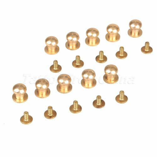 10pcs Belt Leather Craft Solid Brass Screw In Button Head Screw Nail Rivets Tool