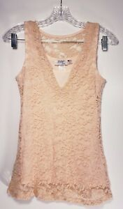 JODY-CALIFORNIA-Women-039-s-Lace-Stretch-PEACH-PINK-Tank-Top-Sleeveless-Medium-M