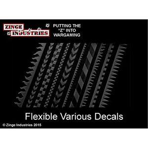 Zinge Industries Flexible Decal Strips Set of 10 Various Conversion Bits S-DEC01