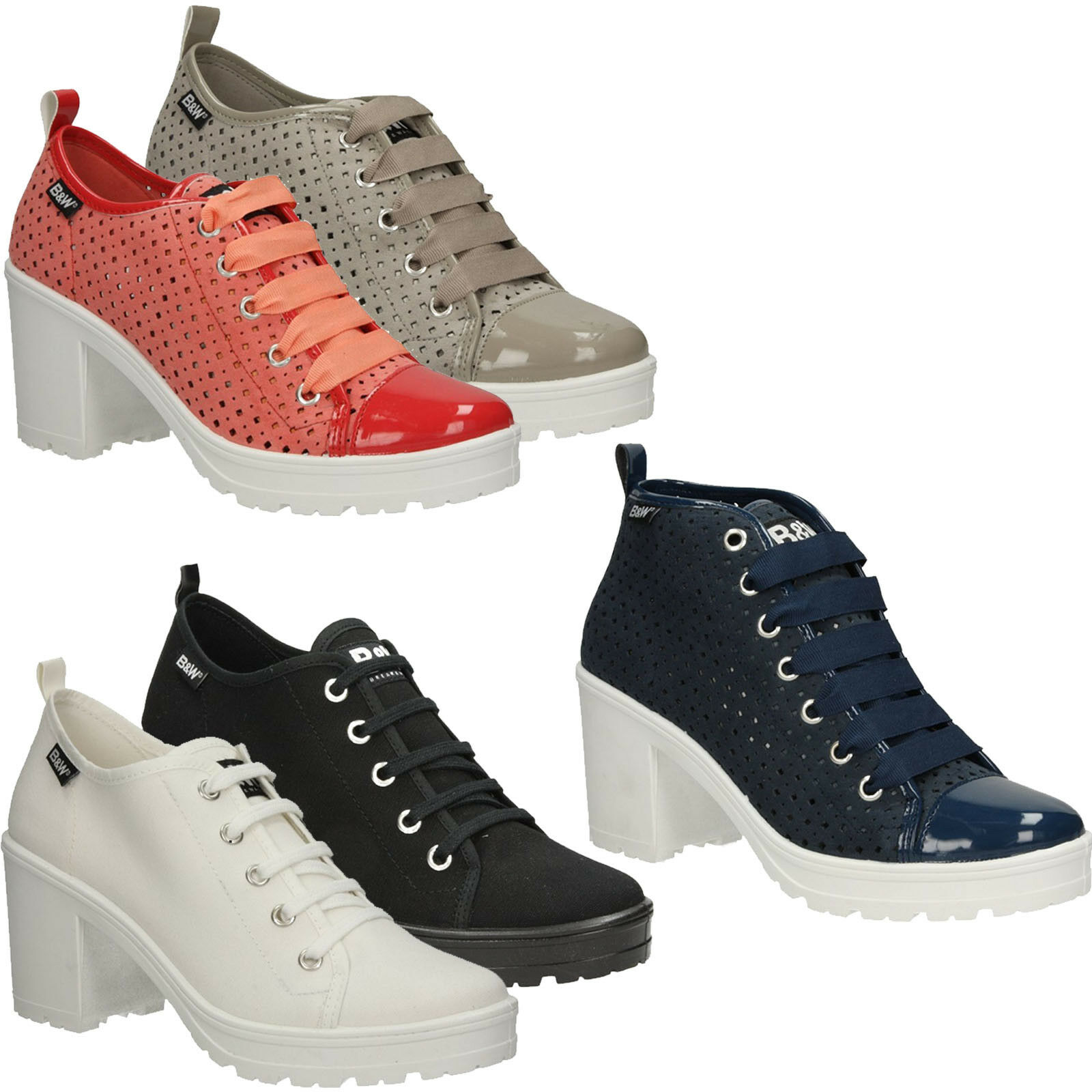 Zapatos Zapatos Zapatos señora zapatillas b&w bloque apartado schnürzapatos a la moda talla 36-41 nuevo  de moda