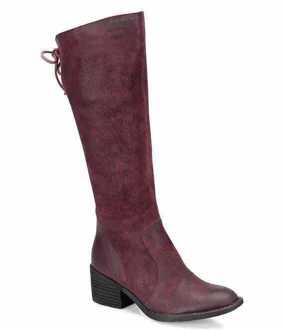 Född som Felicia Tall stövlar Burgundy distresserad mocka läder NI2 65533;,