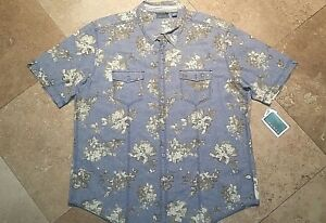 NWT-Cubavera-Slim-Fit-Button-Short-Sleeve-Shirt-Floral-Linen-Blend-Blue-2XL
