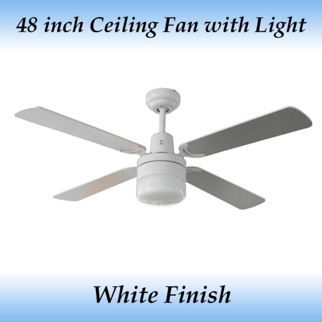 Fias tash 48 inch ceiling fan with light white ebay aloadofball Image collections