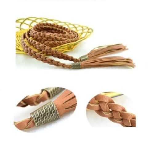 Women Handmade Double-Circle PU Leather Braided Twisted Casual Belts w Tassels