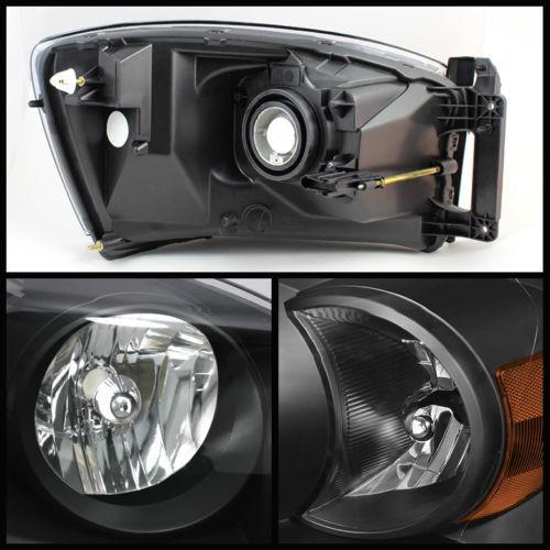Dodge 07-08 Ram 1500 2500 3500 Black Housing Replacement Headlights Pair Set