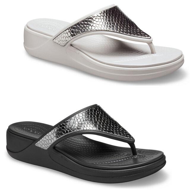 Crocs Monterey Metallic Wedge Flip Flops Womens Summer Holiday Heeled Sandals