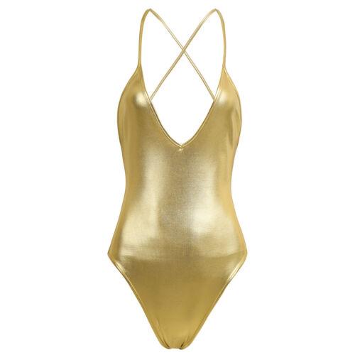 Women Wet Look Leather Monokini One Piece Swimwear Leotard Bodysuit Clubwear