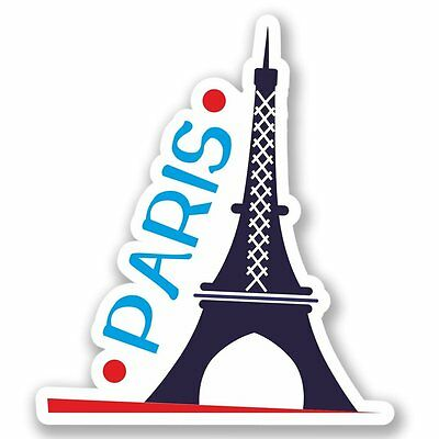 2 x Paris France Vinyl Sticker iPad Laptop Luggage Travel Vintage Label #4331
