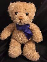 """Gund Thermoscan Teddy Bear Plush 9"""" Stuffed Animal Blue Ribbon 4872 Tan Soft"""