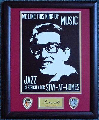 Buddy Holly 'famous Quotes' Framed Print & Plectrum Display Een Effect Produceren Voor Een Heldere Visie