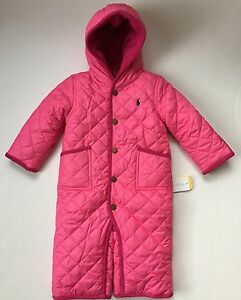 f857c2fc4 NWT Ralph Lauren Baby Girl Polo Pony Quilted Pink Snowsuit Bunting ...