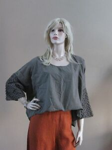 CURVY-OLIVE-GREEN-ARTSY-FUNKY-MADE-IN-ITALY-LAGENLOOK-TOP-SHIRT-O-S-Art-To-Wear