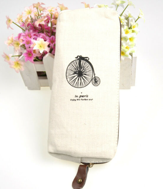 Canvas Cute Blke Pencil Pen Case Cosmetic Bag Coin Purse Pouch with Zipper New
