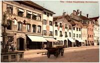 BAD TÖLZ Bayern ~1915 Untere Hauptstrasse Fuhrwerk Wein-Haus Geschäfte Denkmal