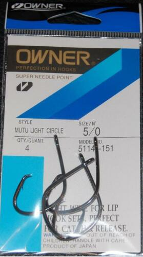 OWNER Black Chrome Mutu Light Wire Circle Hooks 5114-151 Size 5//0-4 pack