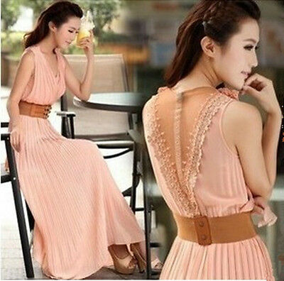 Women Lace Chiffon Long Maxi Dress Floral Greek Goddess Ball Gown V neck Pleated