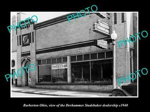 OLD-LARGE-HISTORIC-PHOTO-OF-BARBERTON-OHIO-THE-STUDEBAKER-CAR-DEALERSHIP-c1940