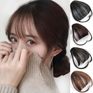 Women-Thin-Neat-Air-Bangs-Fringe-Clip-on-in-Hair-Extensions-Remy-Human-Hairpiece